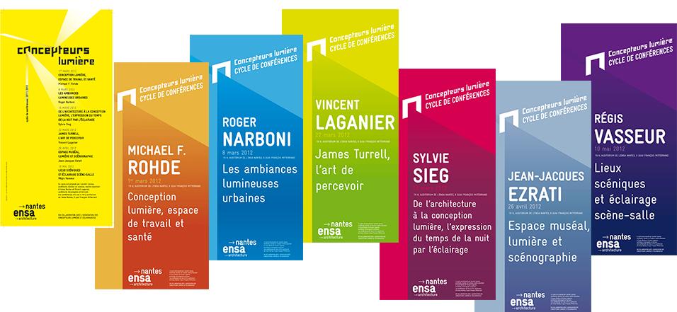 Affiches, 6 conférences Concepteurs lumière, Ensa Nantes