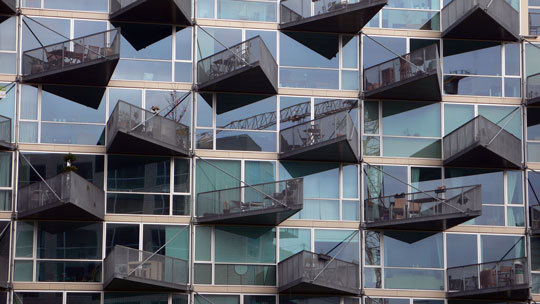 VM Houses, zoom de face, logements V - Ørestad City, Copenhague, Danemark - Architectes : Bjarke Ingels Group, Julien De Smedt Architects - Photo : Vincent Laganier