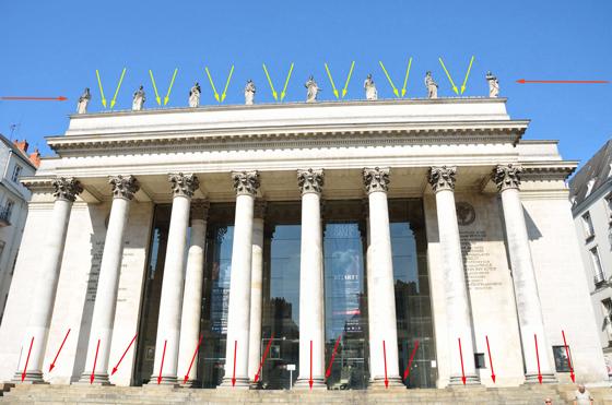 Implantation lumière en façade, théâtre Graslin, Nantes, France – Illustration : Virginie Voué, Luminescence