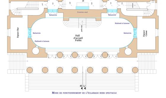 Plan de fonctionnement de l'éclairage hors spectacle, théâtre Graslin, Nantes, France - Illustration : Virginie Voué, Luminescence