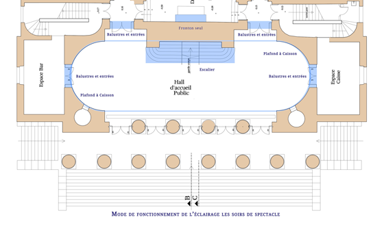 Plan de fonctionnement de l'éclairage les soirs de spectacle, théâtre Graslin, Nantes, France - Illustration : Virginie Voué, Luminescence