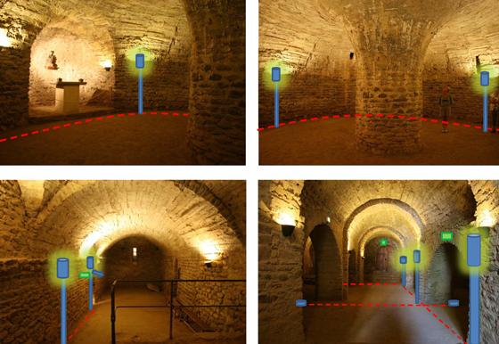 Principe d'implantation lumière dans la crypte, abbaye de Saint Michel de Cuxa, Prades, France – Photo : Agence Rossignol
