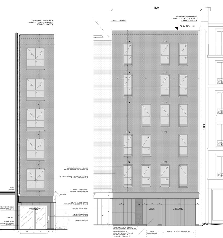 Elévation Est et Nord, volume gris foncé, logements sociaux, Paris, France - Fresh architectes