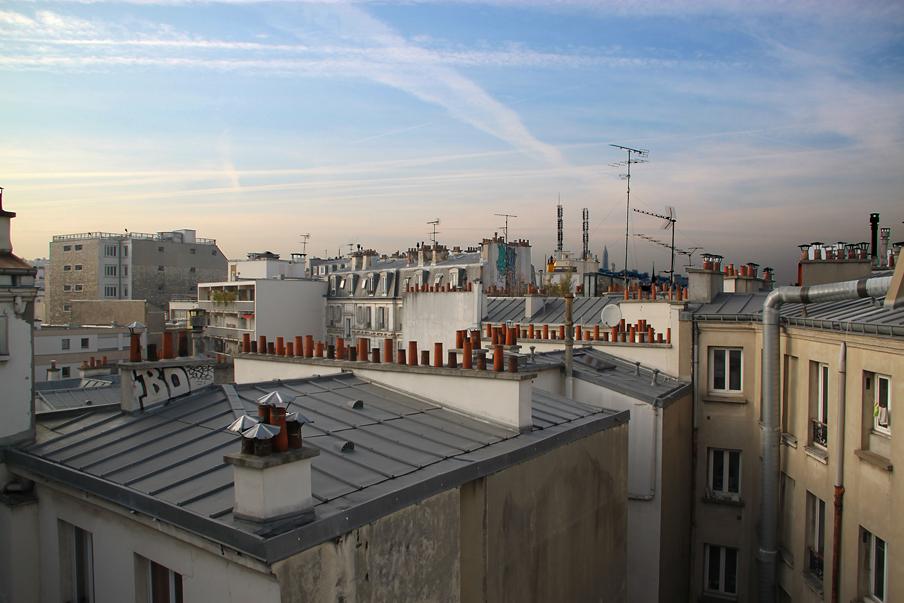 Façade Ouest, vue vers le Sud sur les toits, logements sociaux, Paris, France - Fresh architectes - Photo Vincent Laganier