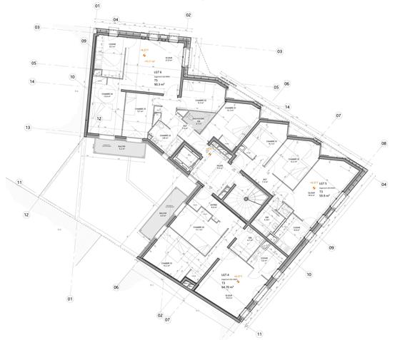Plan étage type, logements sociaux, Paris, France - Fresh architectes