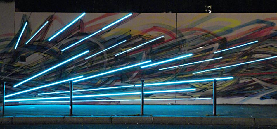 Mur du Pavillon Carré de Baudouin - Hopare & Cristobal Diaz - Nuit Blanche 2013, Paris, France