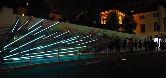 Mur du Pavillon Carré de Baudouin - Hopare & Cristobal Diaz - Nuitblanche 2013, Paris, France