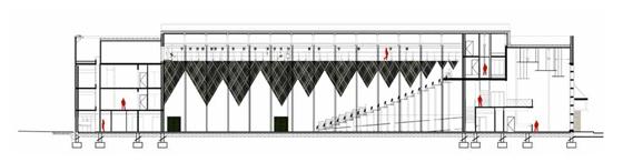 Coupe longitudinale, Théâtre Jean-Claude-Carrière, Montpellier, France - Architecte © A+Architecture