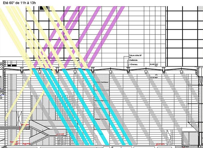 Coupe été, 60°, 13h, hall d'accueil, Tour Eqho, Paris La Defense, France - Hubert & Roy architectes et associés © Concepto, Roger Narboni