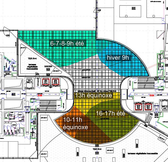 Plan d'ensoleillement, hall d'accueil, Tour Eqho, Paris La Défense, France - Hubert & Roy architectes et associés © Concepto, Roger Narboni