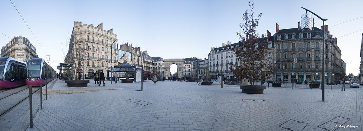 De jour, vue dans l'axe de la place Darcy, Dijon, France – Paysagiste : Alfred Peter – Photo : Audrey Mérigault