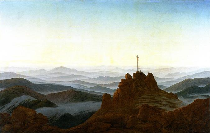 Matin dans les montages des Sudètes, Tchécoslovaquie - Peinture : Caspar David Friedrich
