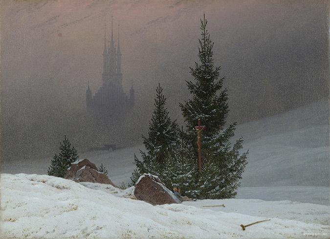 Paysage d'hiver avec une église - Peinture : Caspar David Friedrich